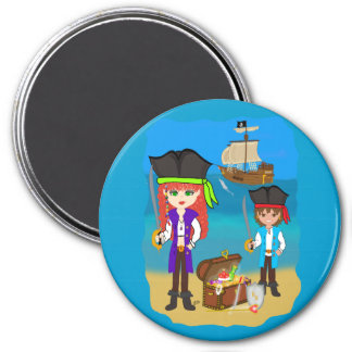 Girl and Boy Pirates with Ship on Beach Magnet