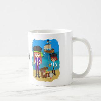 Girl and Boy Pirates with Ship on Beach Mug