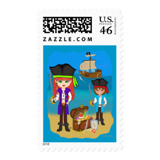 Girl and Boy Pirates with Ship on Beach Postage