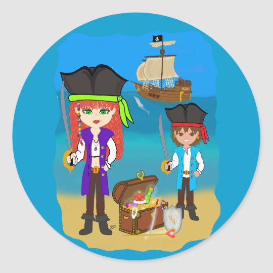 Girl and Boy Pirates with Ship on Beach Sticker