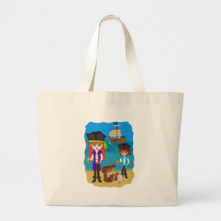 Girl and Boy Pirates with Ship on Beach Tote Bag
