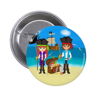 Girl and Boy Pirates with Treasure Button