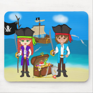 Girl and Boy Pirates with Treasure Mousepad