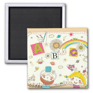 Girl and boy playing by blackboard magnet