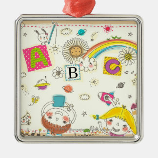 Girl and boy playing by blackboard metal ornament