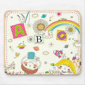 Girl and boy playing by blackboard mouse pad