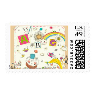 Girl and boy playing by blackboard postage stamp