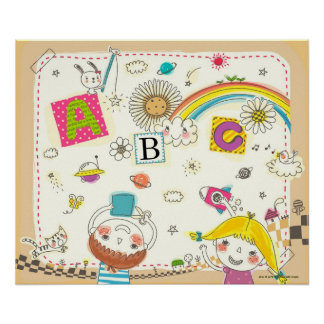 Girl and boy playing by blackboard poster