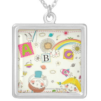 Girl and boy playing by blackboard silver plated necklace