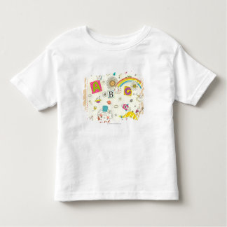 Girl and boy playing by blackboard toddler t-shirt