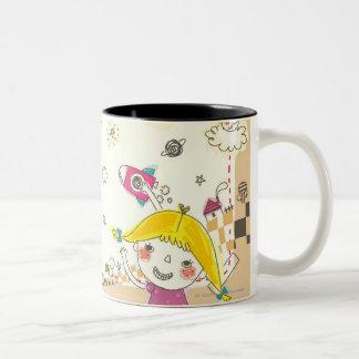 Girl and boy playing by blackboard Two-Tone coffee mug