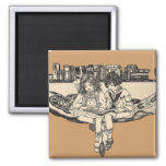 Girl and Boy Reading 2 Inch Square Magnet