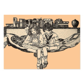 Girl and Boy Reading Large Business Cards (Pack Of 100)
