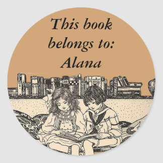 Girl and Boy Reading Classic Round Sticker