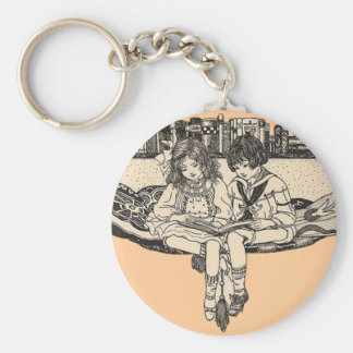 Girl and Boy Reading Keychain