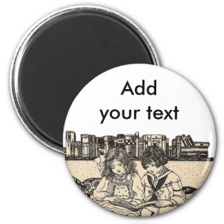 Girl and Boy Reading 2 Inch Round Magnet
