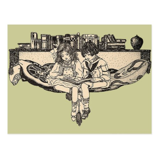 Girl and Boy Reading Post Cards