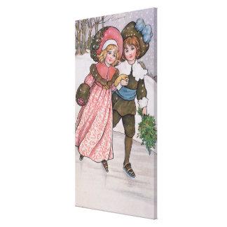 Girl and Boy Skating Canvas Print