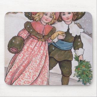 Girl and Boy Skating Mouse Pad
