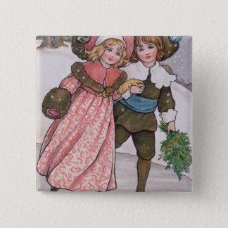 Girl and Boy Skating Pinback Button