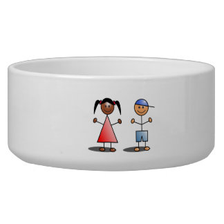 Girl and Boy Stick Figures Dog Water Bowl