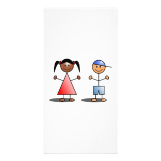 Girl and Boy Stick Figures Photo Card