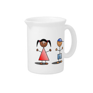 Girl and Boy Stick Figures Pitcher