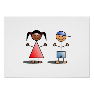 Girl and Boy Stick Figures Poster
