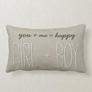 GIRL and BOY Text Design TAN Custom Sentiment A06 Lumbar Pillow