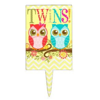 Girl and Boy Twin Owls - Baby Shower Cake Topper