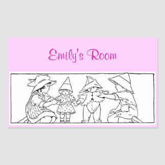 Girl and Boy with Toys Custom Vintage Art Rectangle Sticker