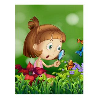Girl and butterflies postcard