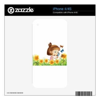 Girl and butterfly iPhone 4 decal