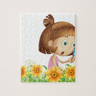 Girl and butterfly jigsaw puzzle