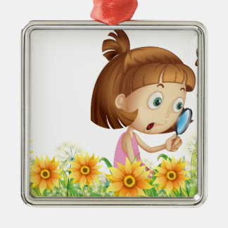 Girl and butterfly metal ornament