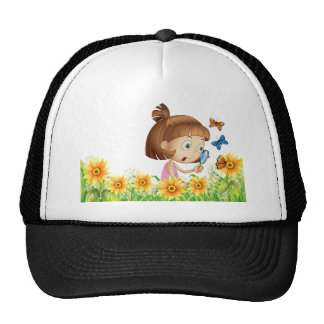 Girl and butterfly trucker hat