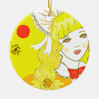Girl and Buzzing Bee Ceramic Ornament