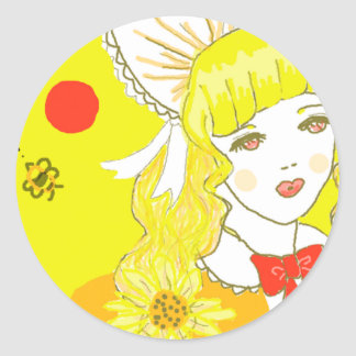 Girl and Buzzing Bee Sticker