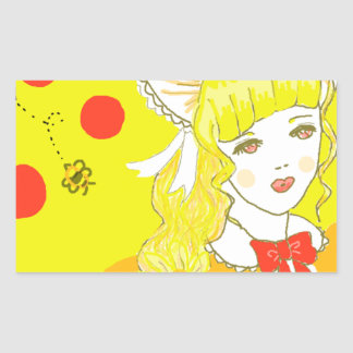 Girl and Buzzing Bee Rectangle Stickers