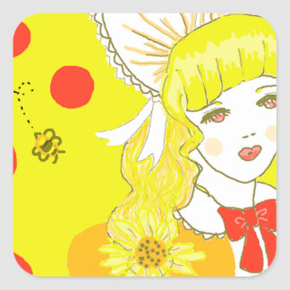 Girl and Buzzing Bee Square Stickers