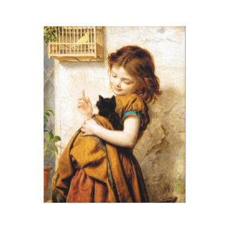 Girl and Cat Canvas Wrap Canvas Print