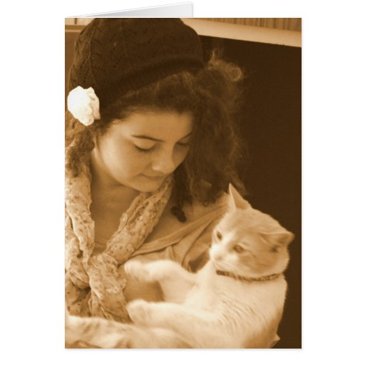 Girl and Cat in Sepia Greeting card