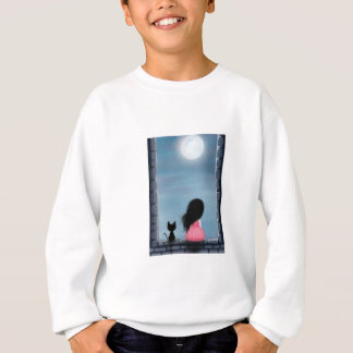 Girl and cat in the window - girl and cat on the sweatshirt