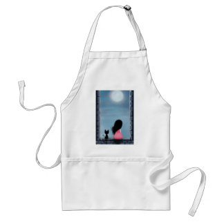 Girl and cat in the window - girl and cat on the w aprons