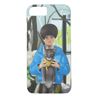 girl and cat iPhone 7 case
