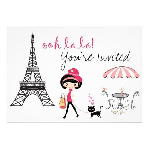 Girl and Cat Paris Birthday Invitation