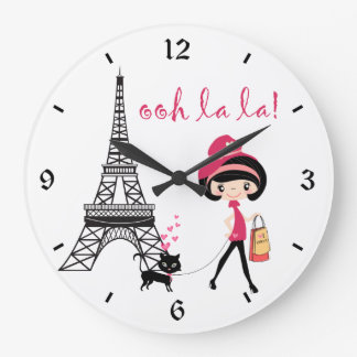 Girl and Cat Paris Clock
