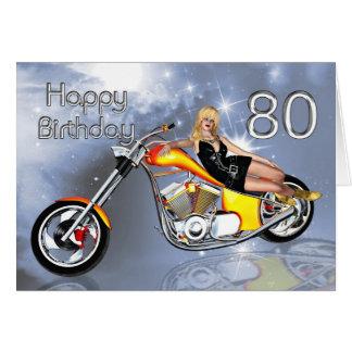 Girl and chopper 80 Birthday card