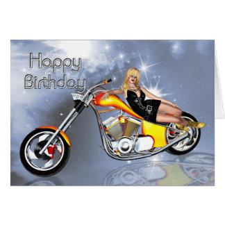 Girl and chopper Birthday card