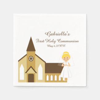 Girl And Church Communion Personalized Napkin